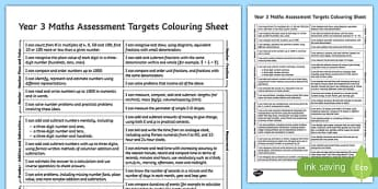 Year 3 Maths Assessment Targets Colouring Sheet - year 3, assessment