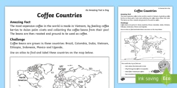 Coffee Countries Activity Sheet - Amazing Fact Of The Day, activity sheets, powerpoint, starter, morning activity, February, coffe bea