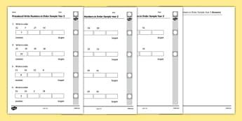 Procedural Write Numbers in Order Sample Year 2 - Writing numbers in order, Procedural Test, Year 2, Wales