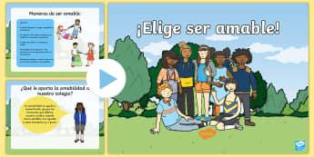 Presentación: ¡Elige ser amable!  - Bulling, acoso, acoso escolar, molestar, abuso, abusón, matón, problemas de convivencia, convivenc