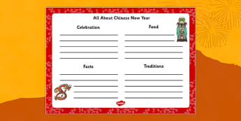 Chinese New Year Writing Frame - chinese new year, writing frame