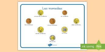 Tapiz de vocabulario: Las monedas - vocabulario, tapiz, monedas, euros, euro, el euro, ,Spanish