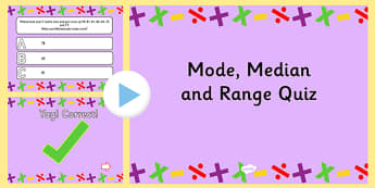 Mode Median and Range PowerPoint Quiz - mode, median, mean, quiz