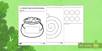 St. Patrick's Day Pot of Gold Art Activity Sheet - ROI, St. Patrick's Day, St. Patrick, Art, Leprechaun, Pot of gold.,Irish