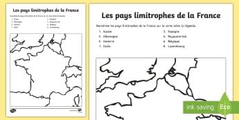 Feuille d'activités : Les pays limitrophes de la France - Cartes géographiques, map,cycle 2, cycle 3,  KS2, pays limitrophes, pays frontaliers, frontière, b