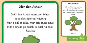 The Glory Be Display Poster Gaeilge - Confession & First Communion Resources,Irish