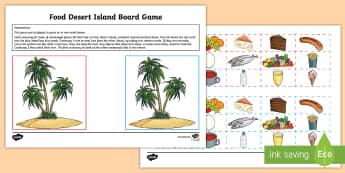 Food Desert Island Board Game German - German Games and Activities, German games, German board games, German food, German eating and drinki