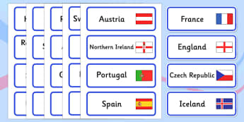 Euro 2016 Countries Word Cards - euro 2016, football, euro, 2016, countries, word cards