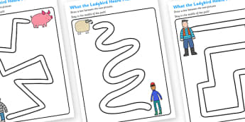 Pencil Control Path Worksheets to Support Teaching on What the Ladybird Heard - control