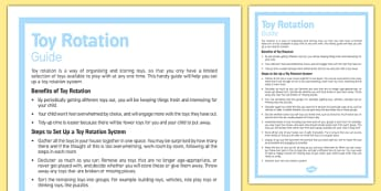 Toy Rotation Guide For Parents - Toy, organise, tidy, rotation, guide, parents