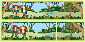 Colourful Elephant Themed Editable Display Banner - Elmer, David McKee, colour, heading, elephants, patchwork, multicoloured, colourful, banner, display
