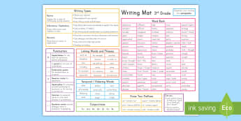 3rd Grade Writing Word Mat - 3rd grade writing, writing, vocabulary, prefixes, temporal words