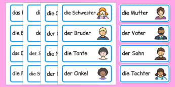 Meine Familie Word Cards German - german, my family, word mat, word, mat, family