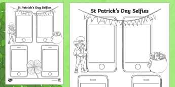 St Patrick's Day Selfie Activity Sheet - Requests KS1, selfie, st patricks day, event, year 1, y1, year 2, y2, phone, mobile, technology, wor