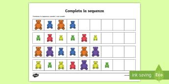 Completa la sequenza Attività - completa, la, senquenza, numeri, orsetti, colore, misura, italiano, italian, materiale, scolastico