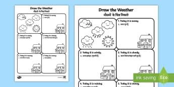 Draw the Weather Activity Sheet English/Hindi - Draw the Weather Activity Sheet - weather, worksheet, drawing, sheet, waether, WHEATHER, wetaher, we