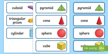 3D Shape Word Cards - 3D Shape names, Shape Flashcards, Shape Pictures, Shape Words, 3D flashcards