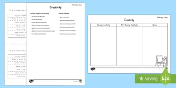 Philosophy Values - Creativity Activity - philosophy, new zealand, questioning, social studies, Year 3-6, creativity