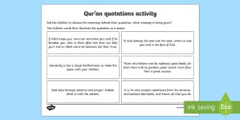 Qur'an Quotes Discussion Activity - islam, muslims, religion, RE