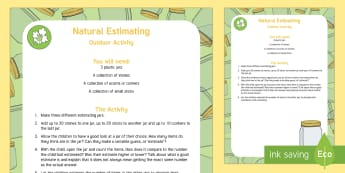 Natural Estimating Jars Outdoor Activity - EYFS Parks and Gardens, playgrounds, forest school, outdoor learning, outdoor classroom, outside, wo