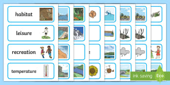 Natural Environment Word Cards - ROI - The World Around UsWAU, Irish, ROI georgaphy, geography