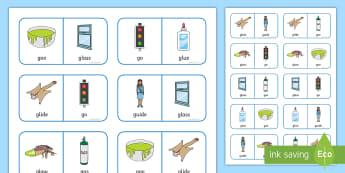 'gl' and 'g' Near Minimal Pair Dominoes - gl, l, g, cluster reduction, cluster simplification, minimal pairs, speech, speech sounds, speech an