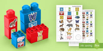 Zoo Animals Alliteration Connecting Bricks Game - EYFS Phase 1 Aspect 5: Alliteration, letters and sounds, phonics, initial phoneme, beginning sound,