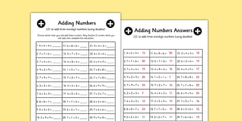 Adding 3 1 Digit Numbers Lesson 2 Worksheet - Doubles, Maths