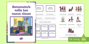 Benvenuto nella tua nuova classe Opuscolo - ritorno, a , scuola, benevenuto, introduzione, aiuto, sostegno, nuova, calsse, italiano, italian, ma