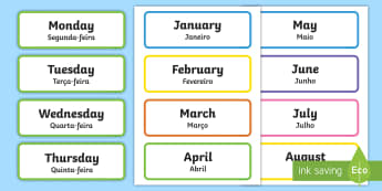 Days of the Week & Months of the Year Labels English/Portuguese - Days of the Week & Months of the Year Labels - Days of the Week, Months of the year, calendar, month