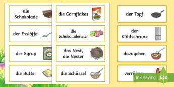 Easter Baking Word Cards German - Easter, Baking, Word Cards, german, flash cards, cooking, baking.