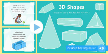 3D Shapes Song PowerPoint - shape, measure, pattern, EYFS, 3D, sphere, cylinder, cube, cuboid, triangular prism, object,