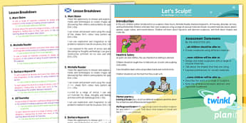 PlanIt Art KS1 Let's Sculpt Planning Overview CfE - scottish, art, history, Famous artists, colour, displays, resources, planning, topic,