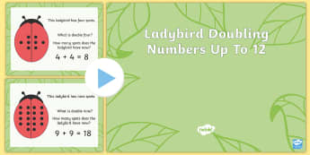 Ladybird Doubling Numbers Up to 12 PowerPoint - double, ladybird