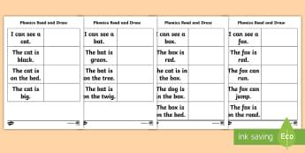 Phonics Read and Draw Activity Sheet - Phonics, CVC Words, Sight Words,Irish, Worksheet, words, simple, short, 3 letter words