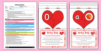 Love Heart Match EYFS Busy Bag Plan and Resource Pack - Valentines, phonics, numbers, counting