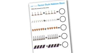 Farmer Duck Up to 20 Addition Sheet - farmer duck, up to 20, addition sheet, farmer duck addition sheet, 0-20, adding, numeracy, maths, themed addition