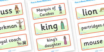 Puss in Boots Word Cards - Puss, cat, in boots, royal, coach, curier, miller, king, king's daughter, word card, flashcards, cards, donkey, prince,Marquis of Carabas, mill, boots, inheritance, son,  story, traditional tale, story book, story resources