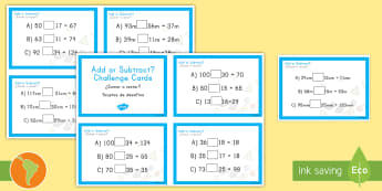 Addition and Subtraction Maths Challenge Cards US English/Spanish (Latin) - Addition and Subtraction Maths Challenge Cards - add, subtract, challange, +, substraction, adition,