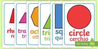2D Shape Poster English/Italian - Shape poster, Shape flashcards, Shape recognition, numeracy,geometry,shapes,2d,posters,displays, EAL