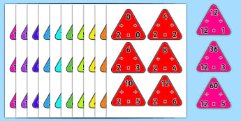 2-12 Multiplication Triangles - 2-12, multiplication, triangles, maths, numeracy
