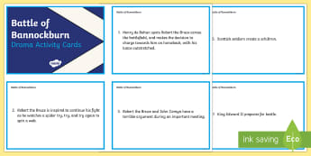 Battle of Bannockburn Drama Activity Cards - CfE Battle of Bannockburn, King Edward II, Robert the Bruce, Scots, 1314, war of independence, Scott