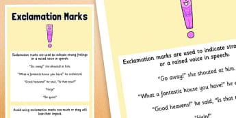 Exclamation Marks Punctuation Poster A2 - grammar, literacy