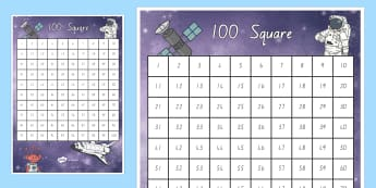 Space Themed 100 Number Square - New Zealand, maths, hundreds square, Years 1-3, hundred square, 100 square, 0-100, numbers to 100, s