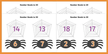 Number Bonds to 20 (on Spiders and Webs) - Number Bonds, Matching Cards, Number Bonds to 10, Halloween, pumpkin , witch, bat, scary, black cat, mummy, grave stone, cauldron, broomstick, haunted house, potion, Hallowe'en