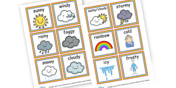 Weather Words Cards - Weather Literacy Primary Resources,Weather,Primary,Literacy,Words