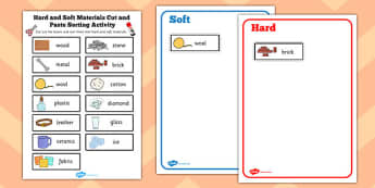 Hard and Soft Materials Cut and Paste Sorting Activity - sorting
