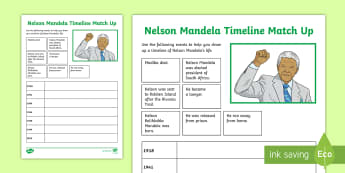 Nelson Mandela Timeline Match-Up Activity Sheet - South Africa Mandela Day 18th July, Nelson Mandela, timeline, history, match up, worksheet
