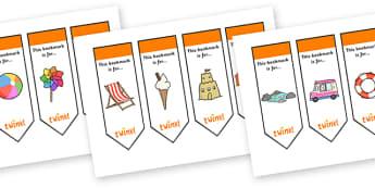 Editable Seaside Bookmarks - Bookmark, bookmark template, fantasy, gift,  present, book, reward, achievement, Under the sea, sea, seaside, topic, water, tide, waves, sand, beach, sea, sun, holiday, coast