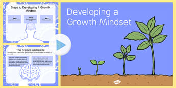 Growth Mindset PowerPoint - presentation, Growth, fixed, display, learning, learner, improve